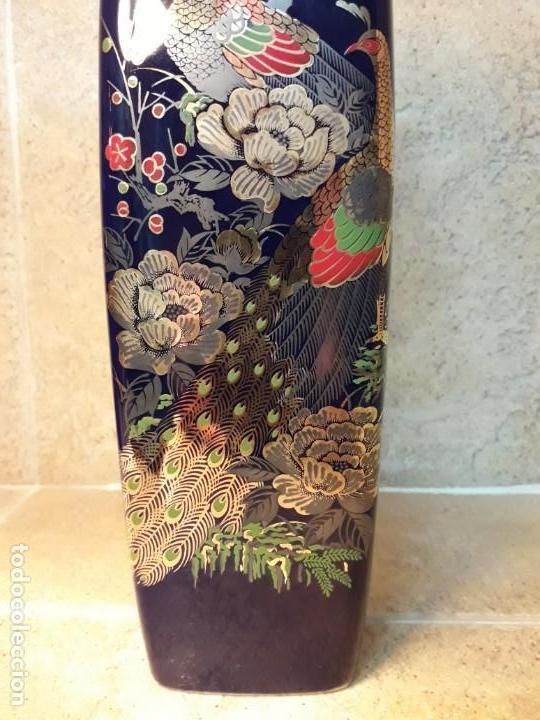 Antigüedades: JARRÓN de pasta de vidrio azul con decoración de estilo japonés. - Foto 2 - 142483082