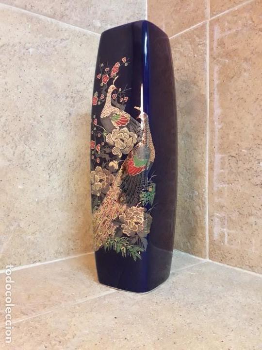 Antigüedades: JARRÓN de pasta de vidrio azul con decoración de estilo japonés. - Foto 4 - 142483082