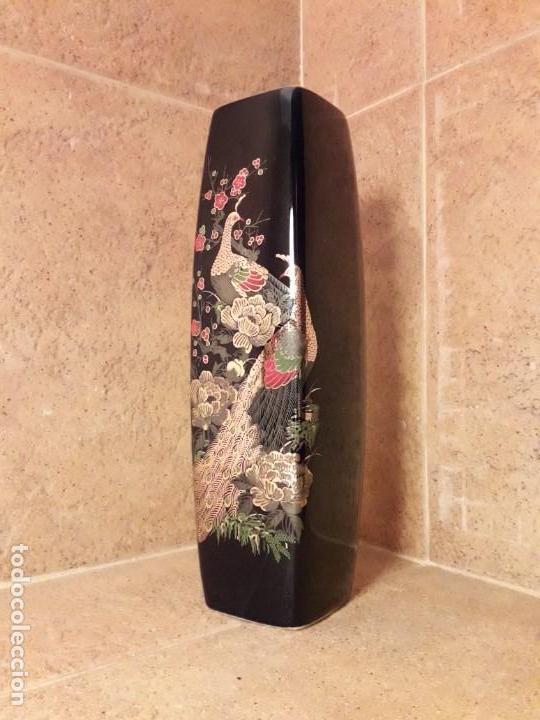 Antigüedades: JARRÓN de pasta de vidrio azul con decoración de estilo japonés. - Foto 5 - 142483082