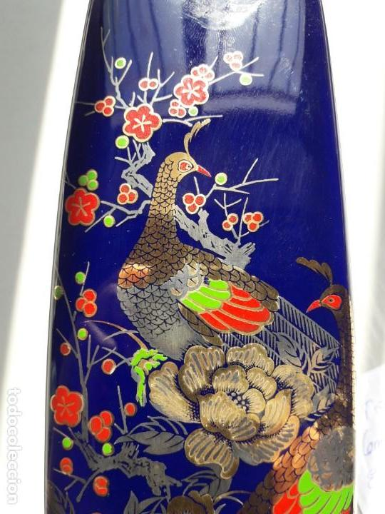 Antigüedades: JARRÓN de pasta de vidrio azul con decoración de estilo japonés. - Foto 6 - 142483082