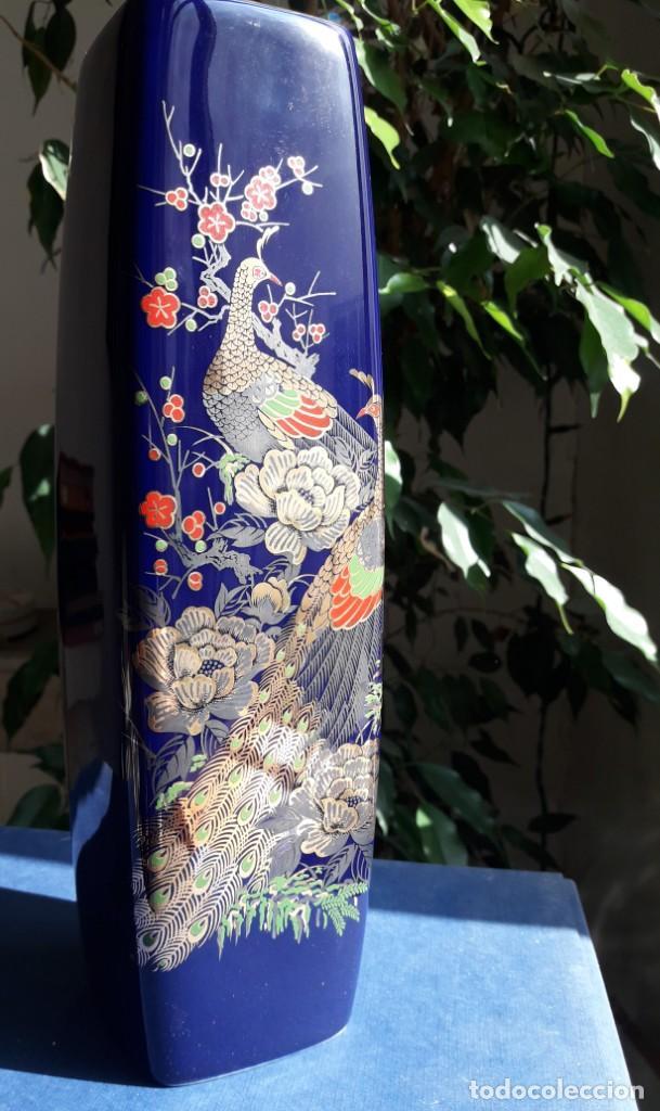 Antigüedades: JARRÓN de pasta de vidrio azul con decoración de estilo japonés. - Foto 7 - 142483082
