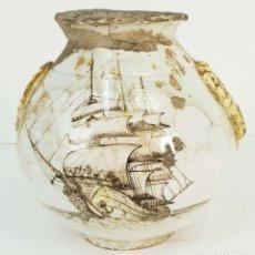Antigüedades: JARRÓN EN CERÁMICA ESMALTADA. PINTADA A MANO. PRINCIPIOS SIGLO XX. . Lote 142495026