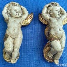 Antigüedades: ÁNGELES ANGELITOS EN ESCAYOLA Y PAN DE ORO. Lote 142515858
