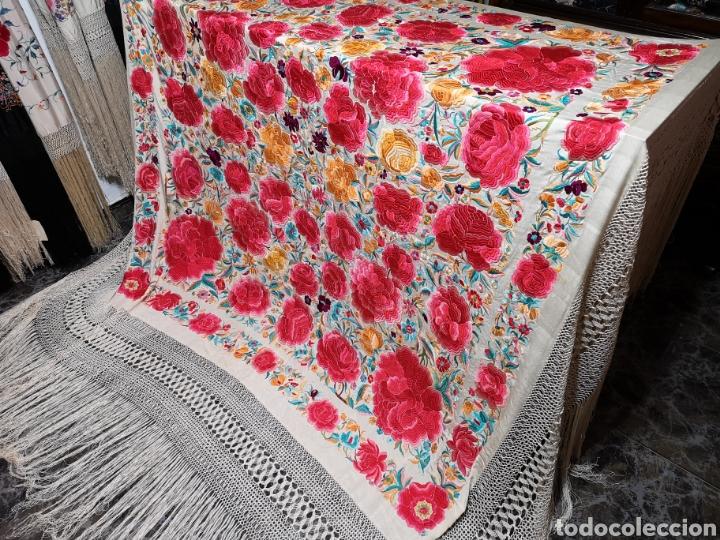 Antigüedades: Maravilloso mantón antiguo con su caja original - Foto 3 - 142547693