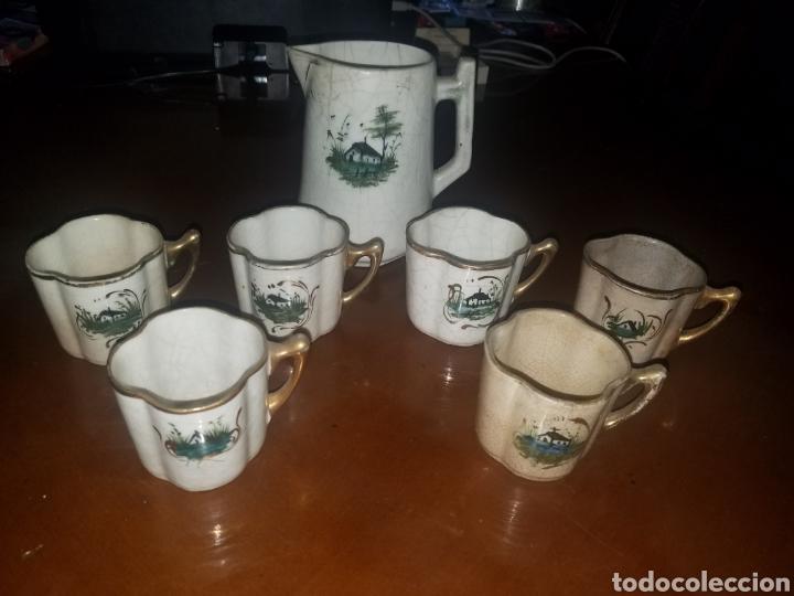 CONJUNTO TAZAS Y JARRAS MANISES PRINCIPIOS SIGLO XX (Antigüedades - Porcelanas y Cerámicas - Manises)