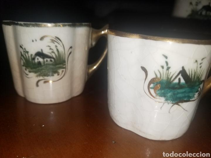 Antigüedades: Conjunto tazas y jarras Manises principios siglo XX - Foto 3 - 142568153