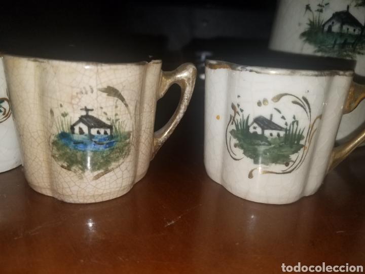 Antigüedades: Conjunto tazas y jarras Manises principios siglo XX - Foto 4 - 142568153