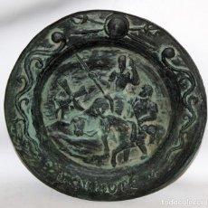 Antigüedades: PLATO DE DON QUIJOTE EN CERAMICA DE QUART. 1ª MITAD SIGLO XX. Lote 142584974