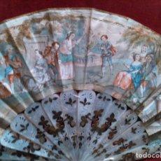 Antigüedades: ABANICO ISABELINO, VARILLAJE EN NÁCAR DE ORNAMENTACIÓN FLORAL. SEGUNDO TERCIO S. XIX.. Lote 142645614