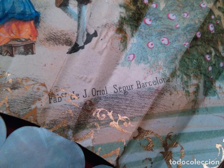 Antigüedades: ABANICO ISABELINO, VARILLAJE EN NÁCAR DE ORNAMENTACIÓN FLORAL. SEGUNDO TERCIO S. XIX. - Foto 10 - 142645614