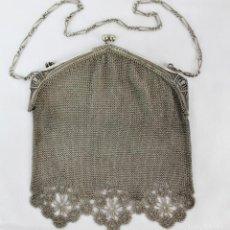 Antigüedades: BOLSO DE PLATA CON ESCENAS DE DAMA, S XIX.. Lote 142659374