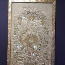 Antigüedades: PRECIOSO PAÑO LITÚRGICO ANTIGUO EN SEDA BORDADA E HILOS DE ORO, SIGLO XIX. Lote 142660526