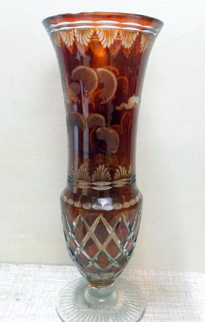ANTIGUO JARRON CRISTAL DE BOHEMIA, AMBAR,GRANATE, BUEN ESTADO 33 CM.W (Antigüedades - Cristal y Vidrio - Bohemia)