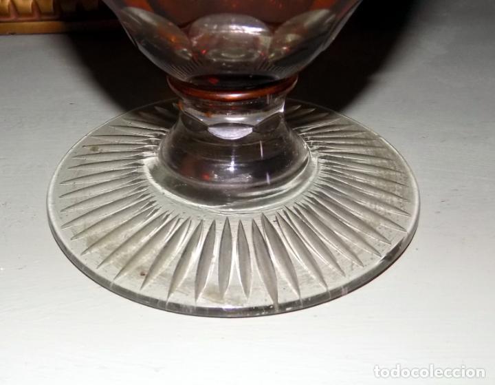 Antigüedades: antiguo jarron cristal de bohemia, ambar,granate, buen estado 33 cm.w - Foto 2 - 142674550
