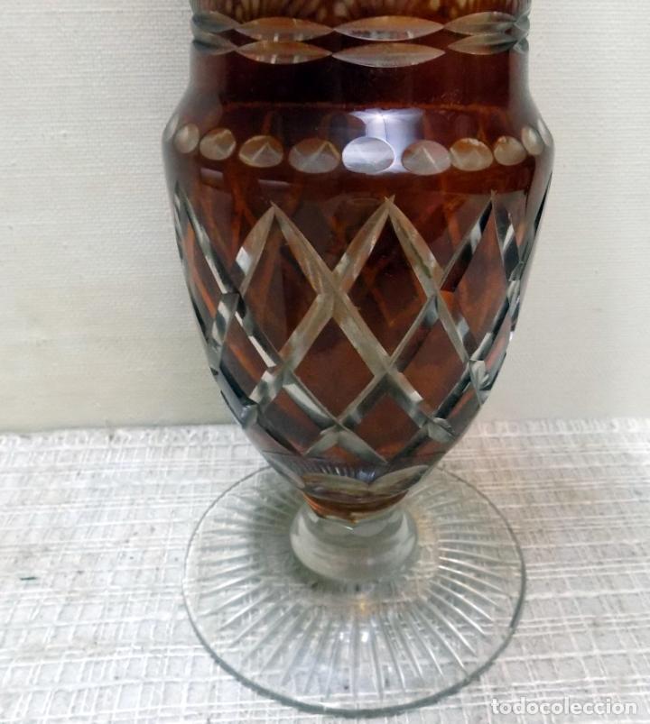 Antigüedades: antiguo jarron cristal de bohemia, ambar,granate, buen estado 33 cm.w - Foto 3 - 142674550