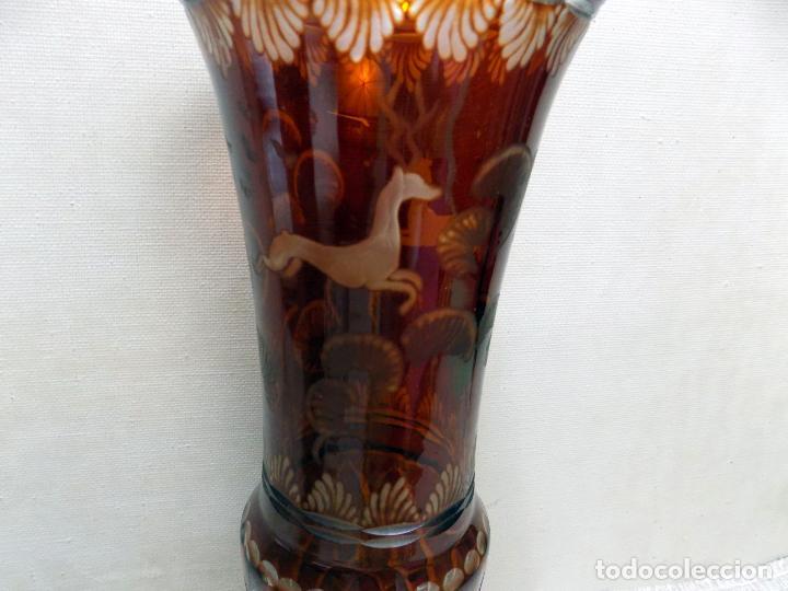 Antigüedades: antiguo jarron cristal de bohemia, ambar,granate, buen estado 33 cm.w - Foto 5 - 142674550