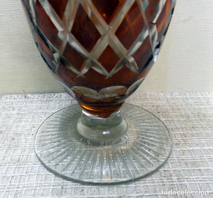 Antigüedades: antiguo jarron cristal de bohemia, ambar,granate, buen estado 33 cm.w - Foto 6 - 142674550