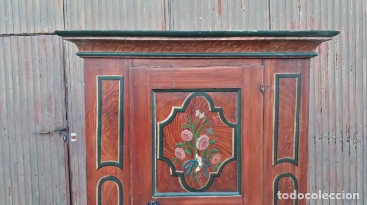 Antigüedades: Armario antiguo policromado estilo oriental India. Armario barroco pintado, armario siglo XVIII. - Foto 4 - 142732298