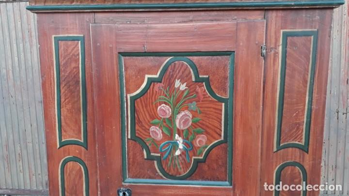 Antigüedades: Armario antiguo policromado estilo oriental India. Armario barroco pintado, armario siglo XVIII. - Foto 6 - 142732298