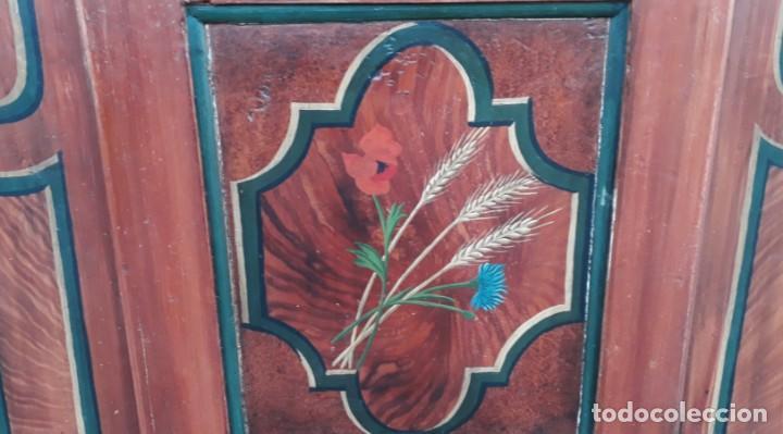Antigüedades: Armario antiguo policromado estilo oriental India. Armario barroco pintado, armario siglo XVIII. - Foto 9 - 142732298