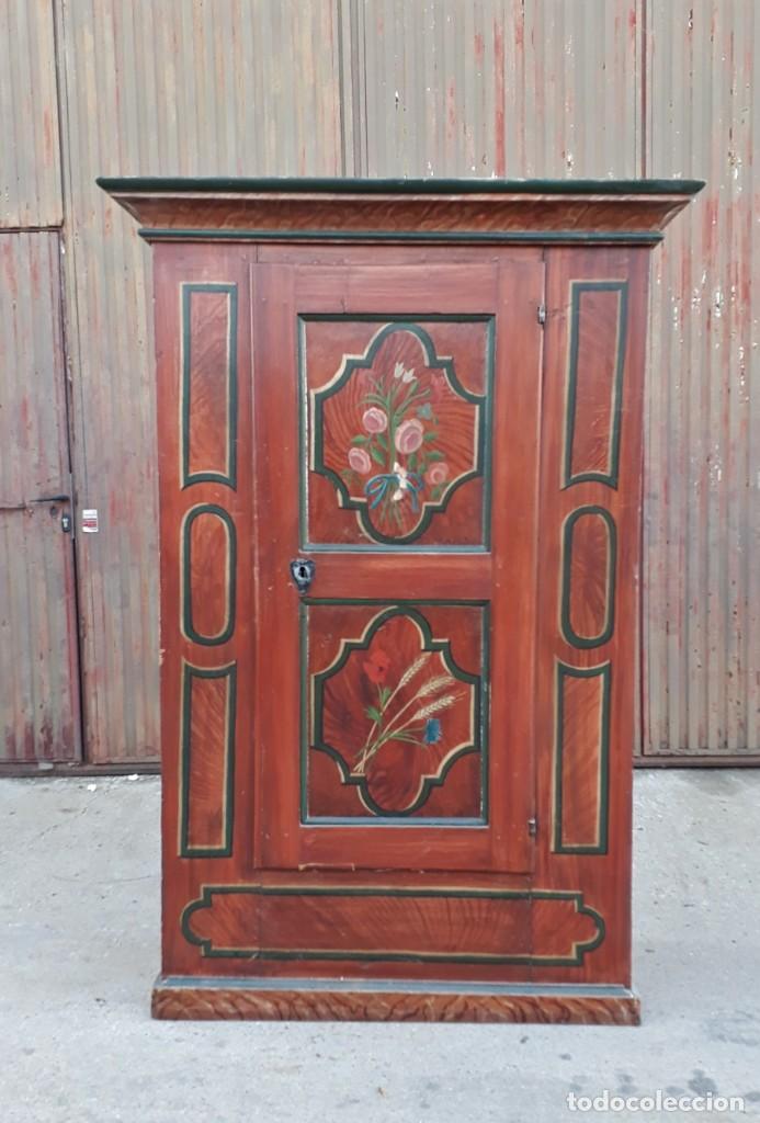 Antigüedades: Armario antiguo policromado estilo oriental India. Armario barroco pintado, armario siglo XVIII. - Foto 18 - 142732298