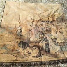 Antigüedades: TAPIZ CON ESCENA DE MERCADO, 123 X 123 CM. Lote 142801858