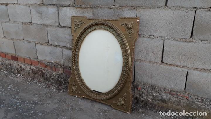 Antigüedades: Marco dorado ovalado estilo isabelino. Marco ovalado antiguo para espejo. - Foto 3 - 142811050