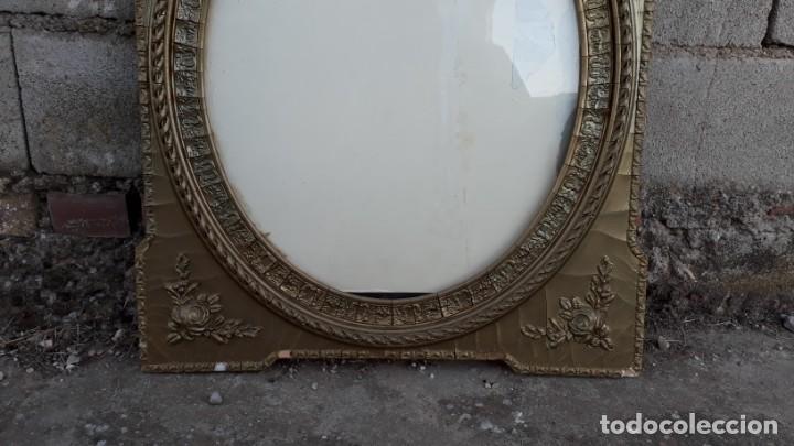 Antigüedades: Marco dorado ovalado estilo isabelino. Marco ovalado antiguo para espejo. - Foto 6 - 142811050