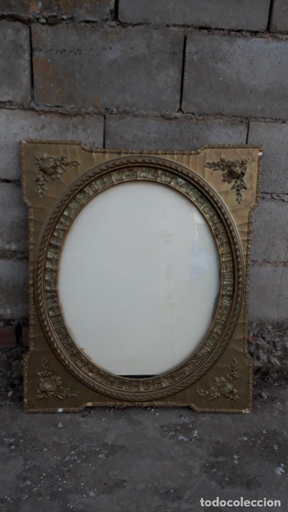 Antigüedades: Marco dorado ovalado estilo isabelino. Marco ovalado antiguo para espejo. - Foto 7 - 142811050