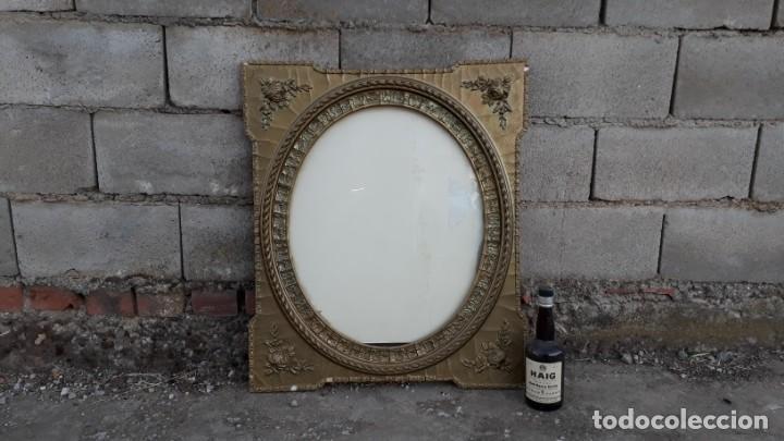 Antigüedades: Marco dorado ovalado estilo isabelino. Marco ovalado antiguo para espejo. - Foto 8 - 142811050