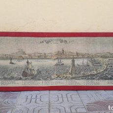 Antigüedades: CUADRO CON MAPA ANTIGUO DEL PUERTO DE BARCELONA. TAPIZ ANTIGUO BARCELONNE CAPITAL DE CATALOGNE. XVII. Lote 142813802