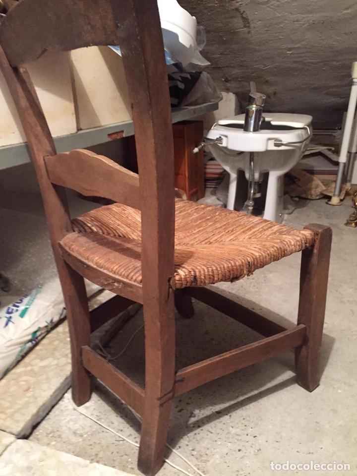 Antigüedades: Silla antigua de madera y paja - Foto 2 - 142833860