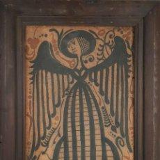Antigüedades: ANGEL ABSTRACTO. ESMALTE SOBRE TERRACOTA. AZULEJO SOCARRAT. FIRMADO CHZ. SIGLO XX. . Lote 142848330
