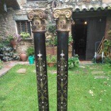 Antigüedades: COLUMNAS CON MARQUETERIA. Lote 142890362