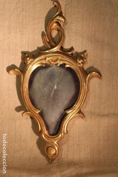 Antigüedades: ESPEJO CORNUCOPIA DE MADERA DORADO - Foto 2 - 142895210
