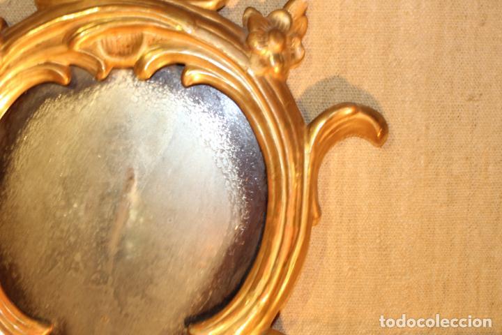 Antigüedades: ESPEJO CORNUCOPIA DE MADERA DORADO - Foto 7 - 142895210