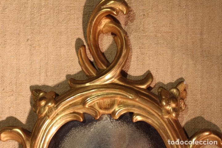 Antigüedades: ESPEJO CORNUCOPIA DE MADERA DORADO - Foto 9 - 142895210