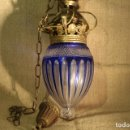 Antigüedades: FAROL DE BRONCE Y CRISTAL. Lote 142897518