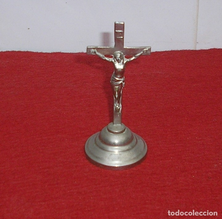 CRUZ CRUCIFIJO DE MESA O ALTAR. (Antigüedades - Religiosas - Cruces Antiguas)