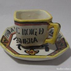 Antigüedades: TAZA Y PLATO MUY ANTIGUO PRECIOSA - RARA TACITA CAFE VALENCIA. Lote 142909998