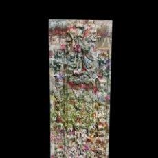 Antigüedades: MARAVILLOSA TABLA EFECTO RETABLO DECORADA CON FLORES, FLORES, PÁJAROS Y FLORES.UNICA. Lote 142822046