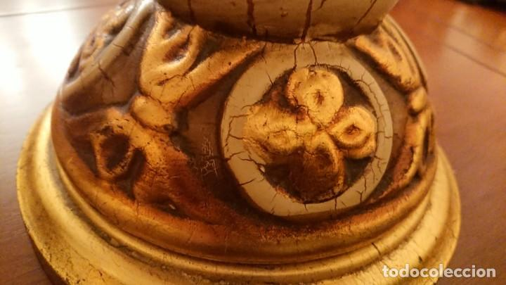 Antigüedades: ANTIGUA LÁMPARA CERÁMICA PINTADA AL ÓLEO - Foto 7 - 142927202