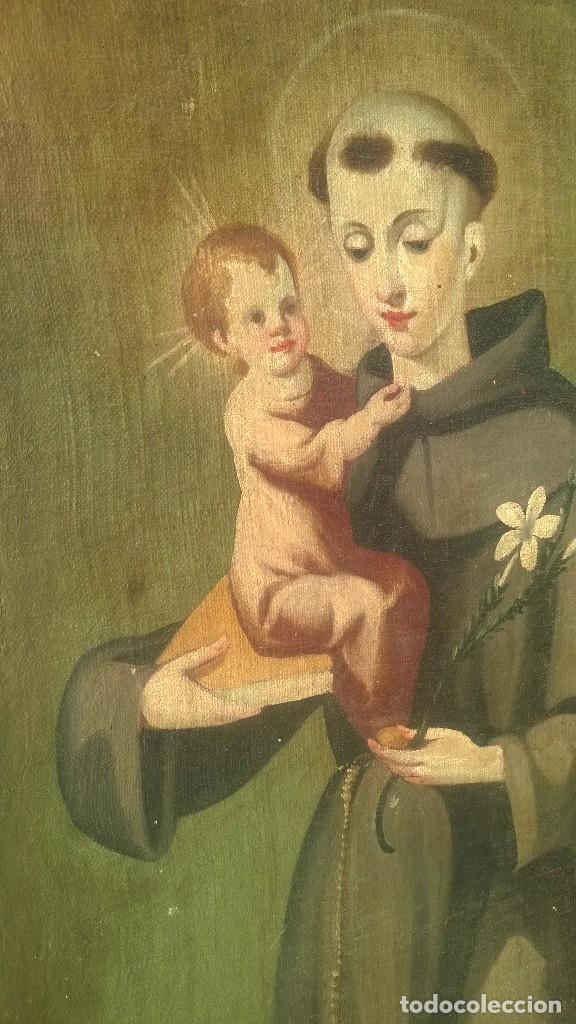 Antigüedades: Pintura Antigüa oleo sobre lienzo San Antonio de Padua.Pieza única - Foto 2 - 142972534