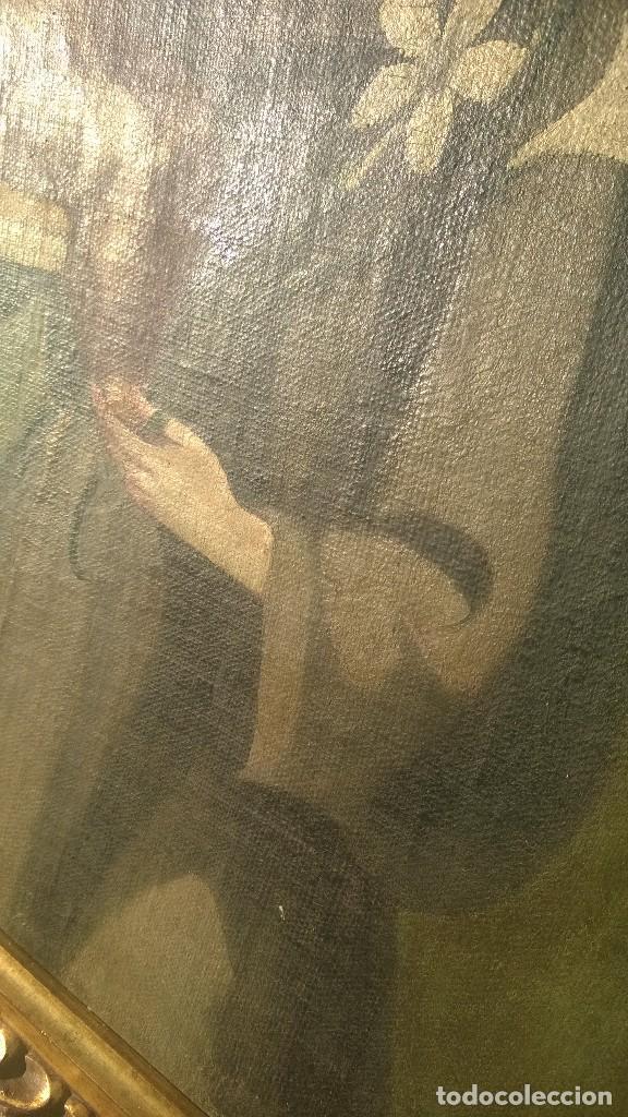 Antigüedades: Pintura Antigüa oleo sobre lienzo San Antonio de Padua.Pieza única - Foto 3 - 142972534