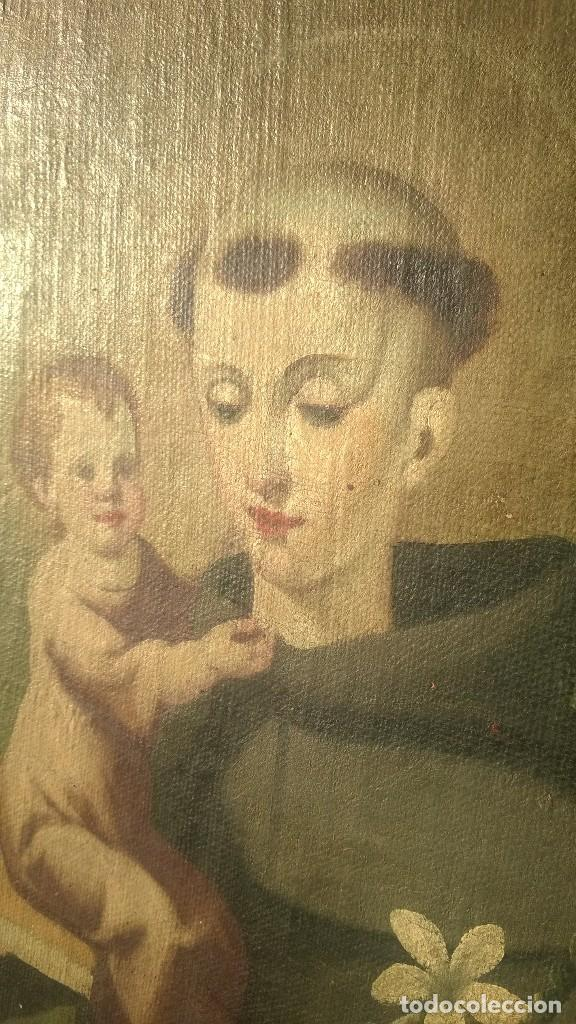 Antigüedades: Pintura Antigüa oleo sobre lienzo San Antonio de Padua.Pieza única - Foto 4 - 142972534