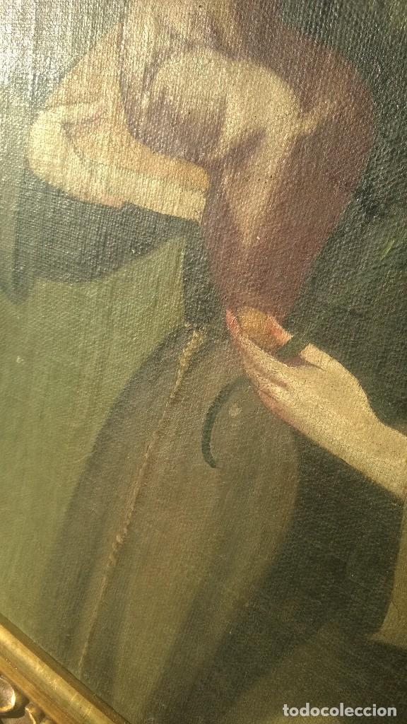 Antigüedades: Pintura Antigüa oleo sobre lienzo San Antonio de Padua.Pieza única - Foto 5 - 142972534