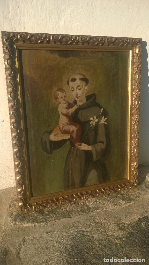 Antigüedades: Pintura Antigüa oleo sobre lienzo San Antonio de Padua.Pieza única - Foto 6 - 142972534