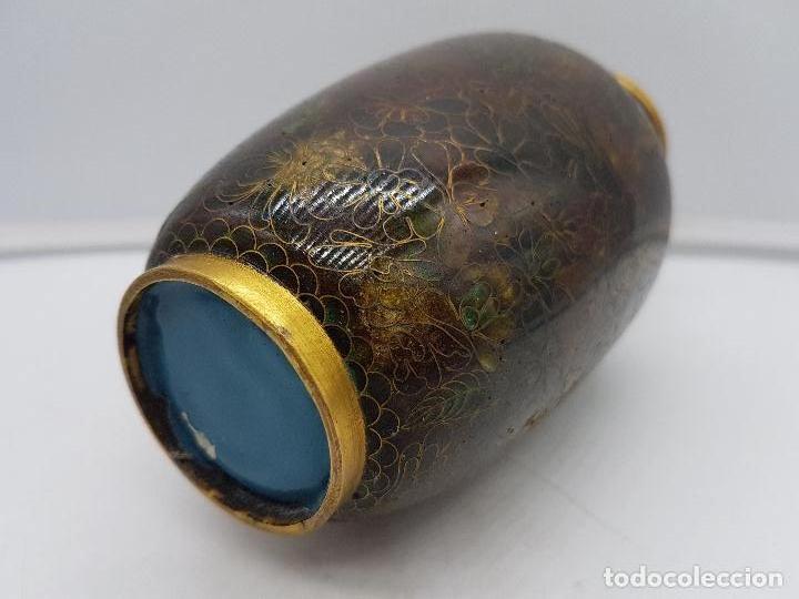 Antigüedades: Bonito jarrón antiguo chino de esmaltes cerámicos cloisonne de tonos oscuros. - Foto 6 - 142979382