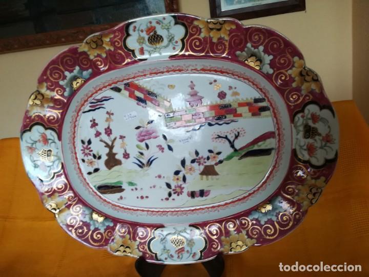 IMPONENTE MASON´S .MASONS IRONSTONE CHINA PATENTE MURO DE COLORES. 53 X 41 CM. PESO 3.070 GR. C.1820 (Antigüedades - Porcelanas y Cerámicas - Inglesa, Bristol y Otros)