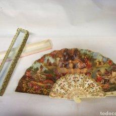 Antigüedades: PRECIOSO ABANICO CON PINTURA COSTUMBRISTA. Lote 143031808